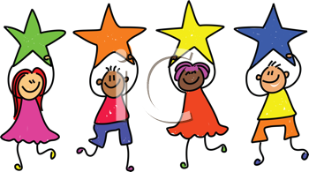 Royalty Free Clipart Image of Children With Stars