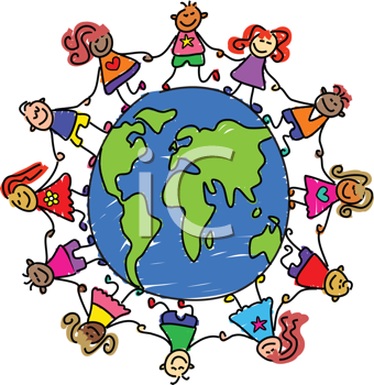 Royalty Free Clipart Image of Children Around a Globe
