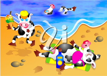 Royalty Free Clipart Image of Cows on a Beach
