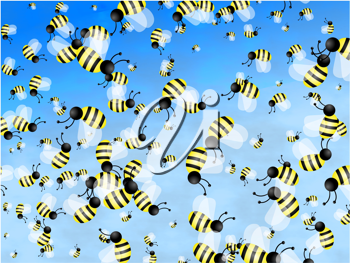 Royalty Free Clipart Image of a Bumblebee Background