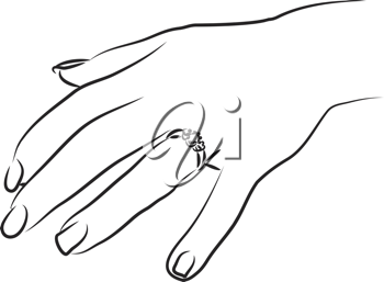 Royalty Free Clipart Image of a Woman Showing Her Engagement Ring