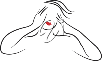 Royalty Free Clipart Image of a Stressed Out Woman