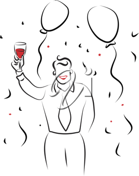 Royalty Free Clipart Image of a Man Celebrating