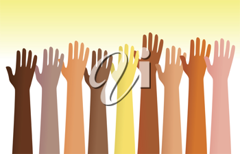 Royalty Free Clipart Image of Raised Hands