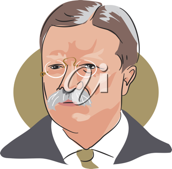 Royalty Free Clipart Image of Theodore Roosevelt