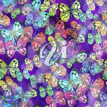 A seamless watercolour paper design with colorful butterflies.