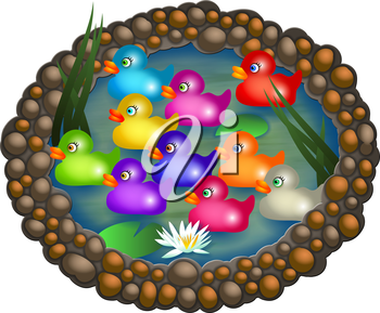 Ten colourful cartoon ducks floating on an oval pond with water lilies.