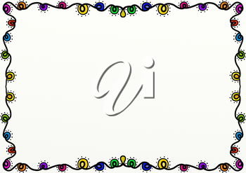 A hand drawn doodle style page border decoration with Christmas lights and copy space.