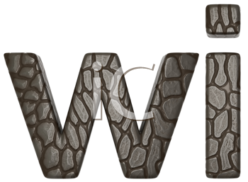 Royalty Free Clipart Image of Alligator Skin Font W and I