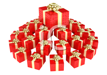 Royalty Free Clipart Image of a Pile of Red Presents