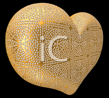 Royalty Free Clipart Image of a Gold Heart Covered in Diamonds