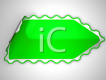 Royalty Free Clipart Image of a Green Bent Sticker