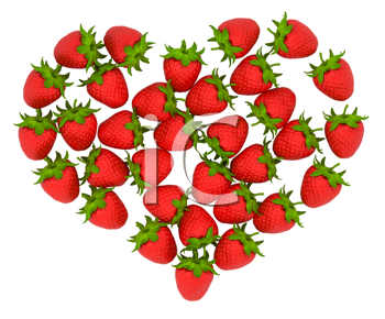 Royalty Free Clipart Image of Strawberries Forming a Heart