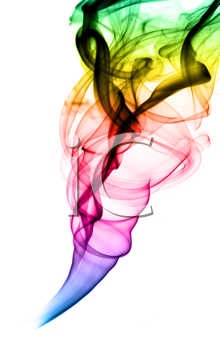 Abstract puff of colorful smoke over the white background