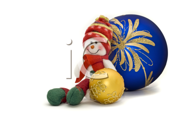 Christmas decoration toy with colorful New Year Balls over white with focus on the back