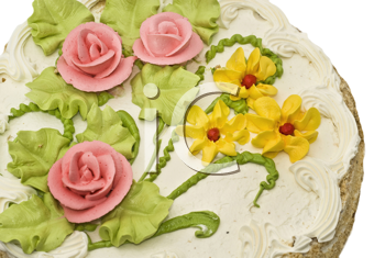 Close-up of tasty cake with cream, pink roses and green leaves