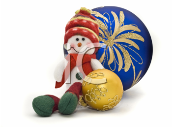 Christmas toy with two colorful New Year Balls over white background