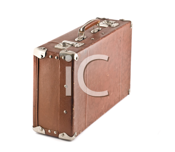 Old-fashioned scratched suitcase isolated over white