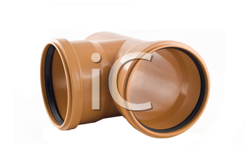 Plastic T-branch sewer tube isolated over white background