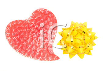 Love greetings - red heart and yellow bow isolated