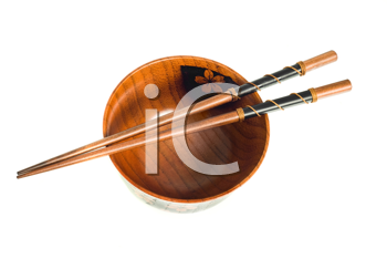 Japanese tableware. Top view of Chopsticks and a bowl isolated on white