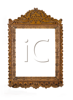 Wooden carved Frame for picture or portrait isolated over white background