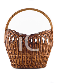 Big Wicker woven basket over white background