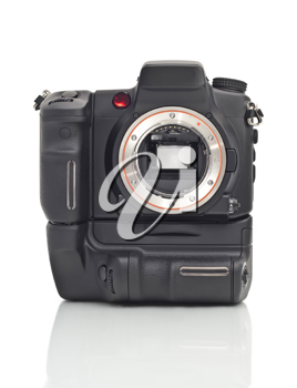 Front view of professional Dslr camera body with vertical grip and its mirror over white background