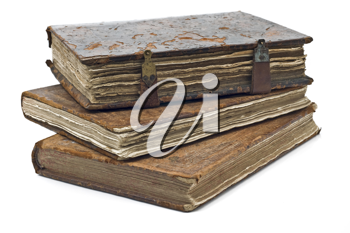 Old frayed books isolated over white background