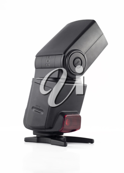 Professional flash unit for digital camera isolated over white