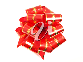 Red stripy holiday ribbon for presents and gifts over white