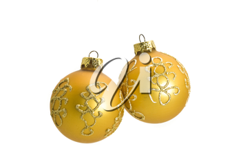 Two Beautiful Christmas decoration balls, isolated over white
