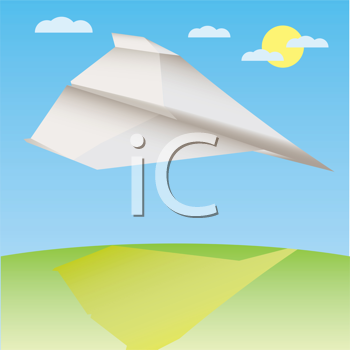 Royalty Free Clipart Image of a Paper Airplane