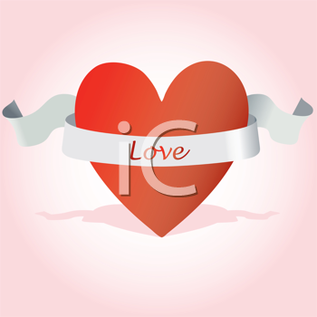 Royalty Free Clipart Image of a Heart With the Word Love on a Ribbon