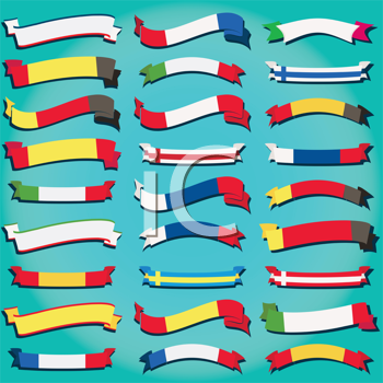 Royalty Free Clipart Image of a Set of Flags