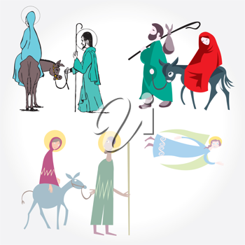 Royalty Free Clipart Image of a Mary, Joseph and the Donkey