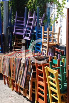 Royalty Free Photo of a Stack of Chairs in Kas, Turkey