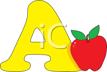 Royalty Free Clipart Image of an Apple Beside an A