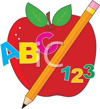 Royalty Free Clipart Image of an Apple With Letters, Numbers and a Pencil