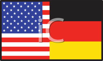 Royalty Free Clipart Image of a Half American, Half German Flag