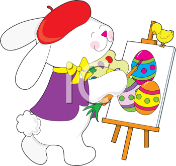 Royalty Free Clipart Image of an Artist Bunny Painting Easter Eggs