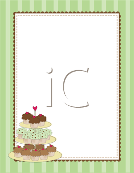 Royalty Free Clipart Image of a Border With Tiered Cupcakes