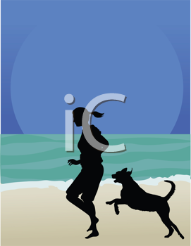Royalty Free Clipart Image of a Woman and Her Dog Running on the Beach