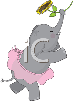 Royalty Free Clipart Image of an Elephant in a Tutu Holding a Sunflower
