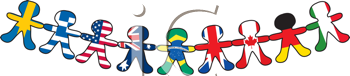 Royalty Free Clipart Image of a Line of Paper Dolls Representing Differnt Countries