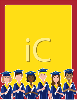 Royalty Free Clipart Image of a Border of Graduates