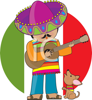 Royalty Free Clipart Image of a Mexican Man Playing Guitar and a Chihuahua
