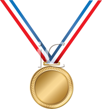 Royalty Free Clipart Image of a Gold Medal on a Striped Ribbon