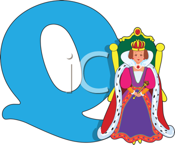 Royalty Free Clipart Image of a Queen Beside a Q