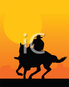 Royalty Free Clipart Image of a Silhouetted Horse and Rider